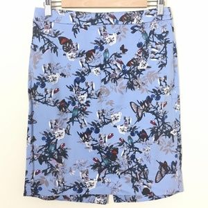 J.CREW Botanical Bird Print The Pencil Skirt